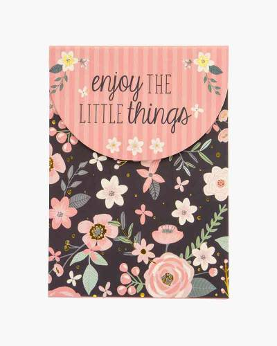 Enjoy the Little Things Charcoal Floral Purse Notepad