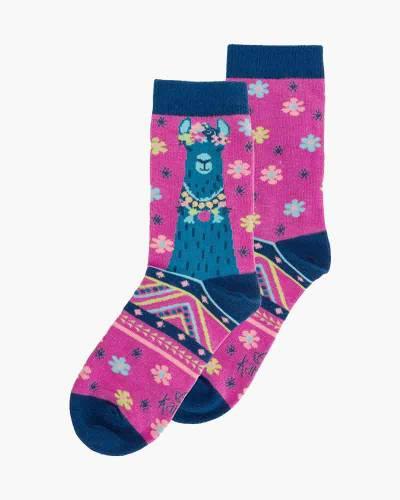Llama Pink Crew Socks