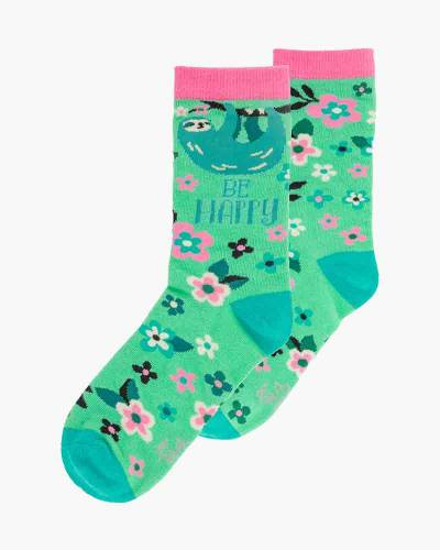 Be Happy Sloth Crew Socks