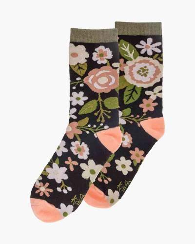 Charcoal Flowera Crew Socks