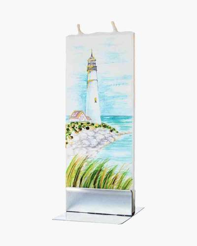 Lighthouse Artisan Painted Flat Candle