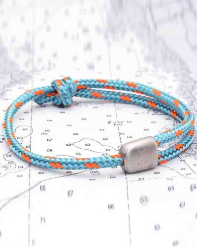 Cuttyhunk Bracelet in Sky and Signal Orange