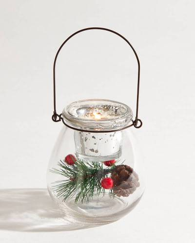 Holiday Glass Hurricane Candle Holder