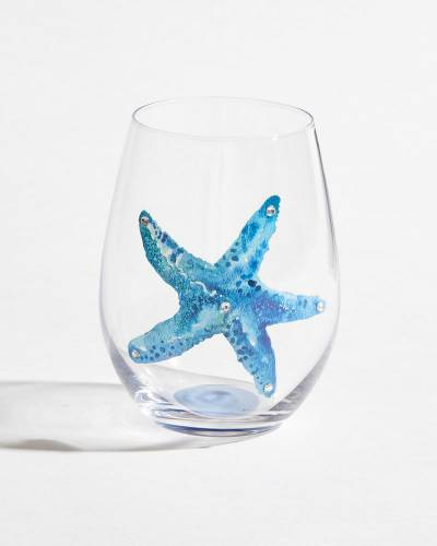 Sparkling Starfish Single Stemless Wine Glass