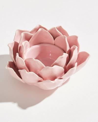 Exclusive Rose Pink Lotus Tea Light Holder