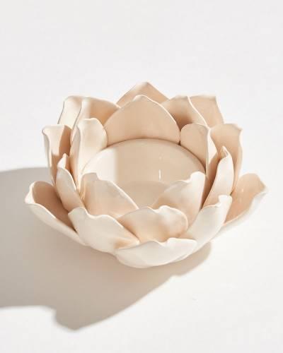 Exclusive Ivory Lotus Tea Light Holder