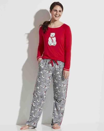 Women's Beary Merry Long Sleeve PJ Top in Red