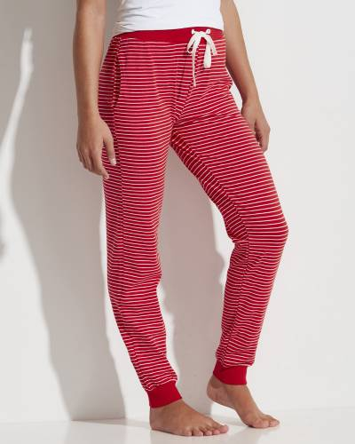 Women's Knit PJ Pants in Red and White Stripes