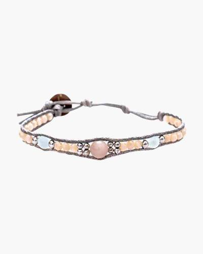 Holiday Collection Beaded Bracelet in Grey and Pink