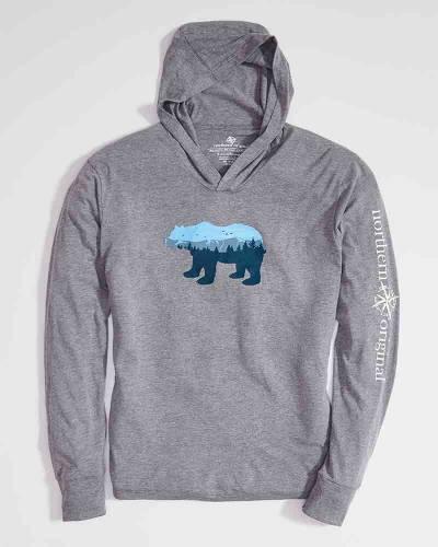 Exclusive Long Sleeve Bear Hoodie in Grey