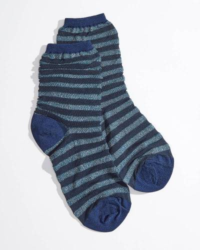 Striped Crew Socks in Metallic Navy