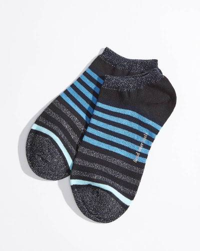 No-Show Socks in Blue and Black Stripes