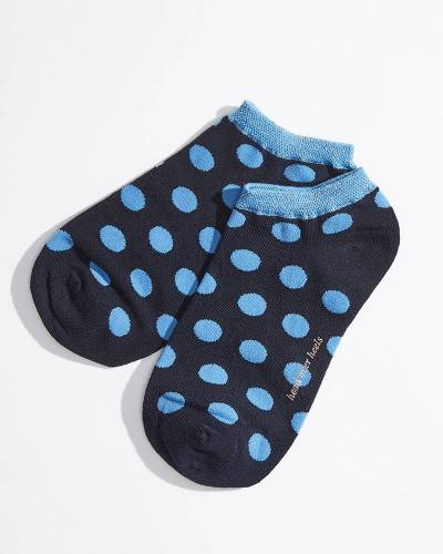 No-Show Socks in Navy Polka Dot