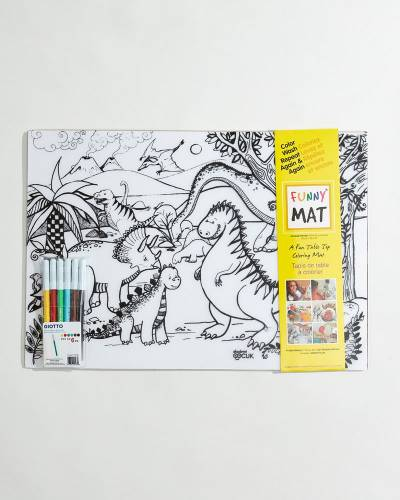 Dinos and Vehicles Washable Coloring Mats