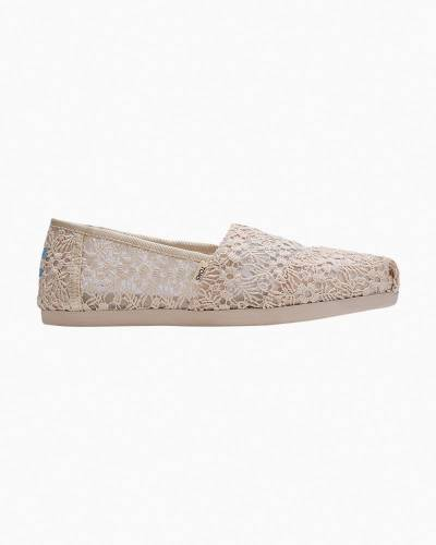 Slip-On Floral Lace Shoes in White