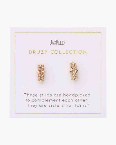 Druzy Bar Earrings in Rose Gold