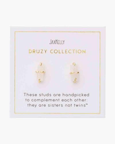Druzy Bar Earrings in White