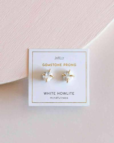 White Howlite Gemstone Prong Earrings