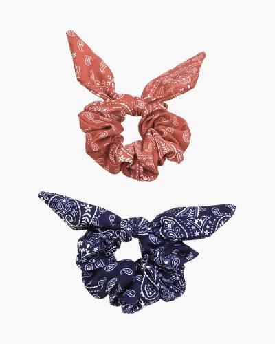 Printed Bandana Scrunchies 2-Pack (Red, Blue)