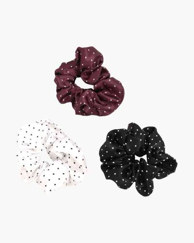 Dotted Scrunchies 3-Pack (Black, White, Purple)