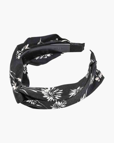Flower Print Fabric Headband in Black
