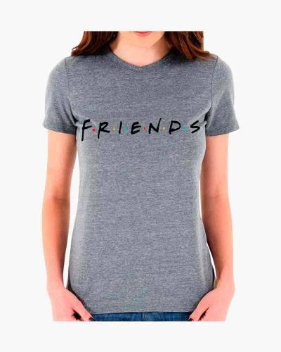 Women's Friends Logo Fitted Tee in Grey