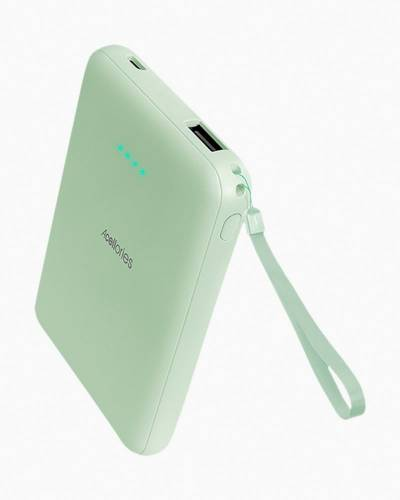 Teal Power Bank with Light