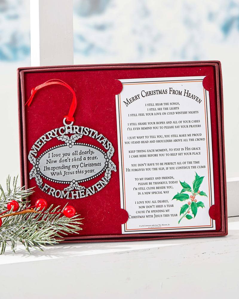 Christmas From Heaven.Merry Christmas From Heaven Pewter Finish Ornament
