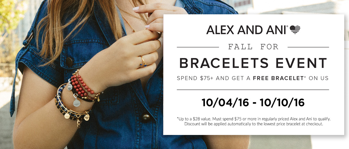 Alex and Ani free bangle with $75 purchase*