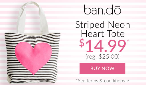 ban.do Striped Heart Tote now just $14.99*