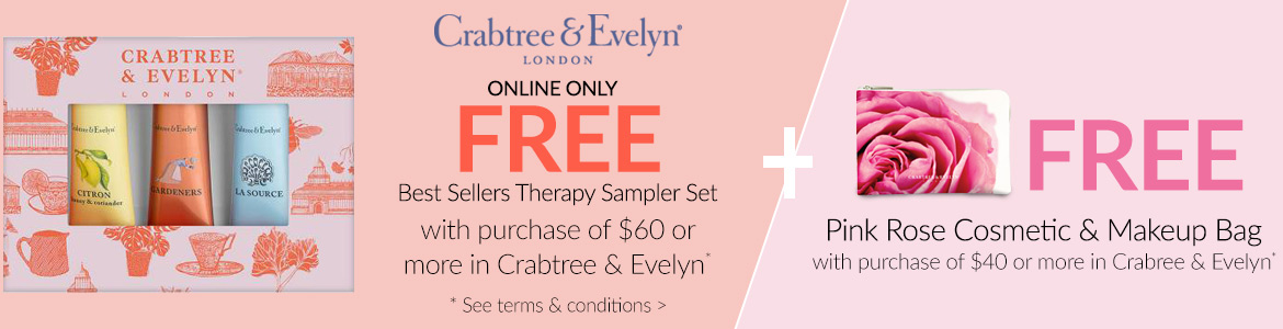 FREE pink rose cosmetic bag with $40 purchase & FREE Best Sellers Hand Therapy Sampler with $60 purchase*