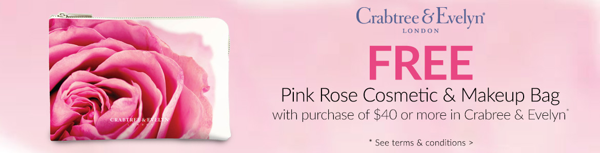 FREE pink rose cosmetic bag with $40 purchase*