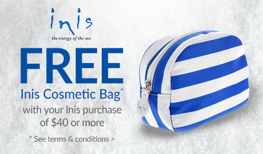 FREE cosmetic bag with $40 Inis purchase*