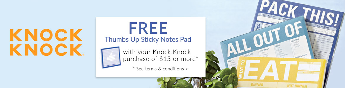 FREE Thumbs Up Sticky Notes pad with $15 Knock Knock purchase*