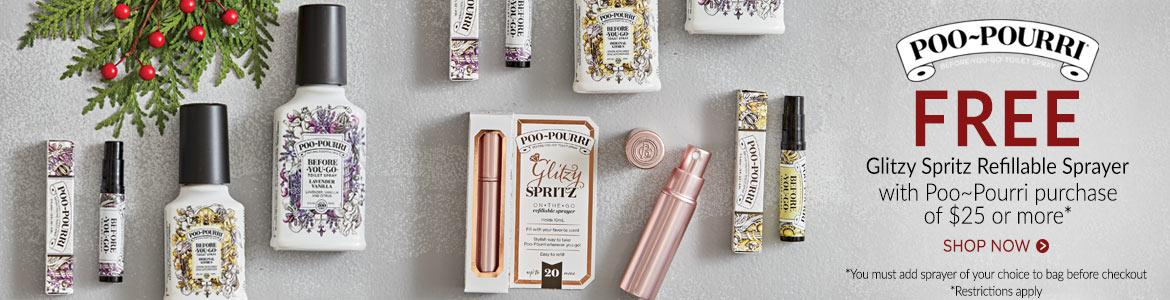 FREE Glitzy Spritz with $25 Poo~Pourri purchase*