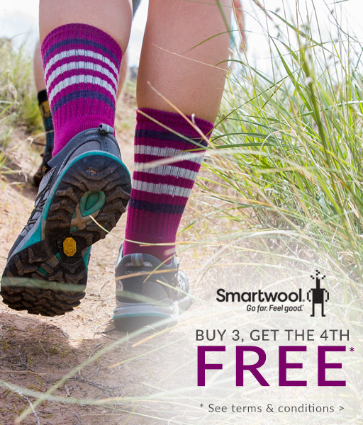 Smartwool: Buy 3, get 4th socks*