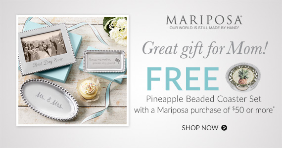 FREE Pineapple Beaded Coaster set with Mariposa purchase of $50 or more*