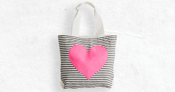 Striped Neon Heart Tote now $14.99*