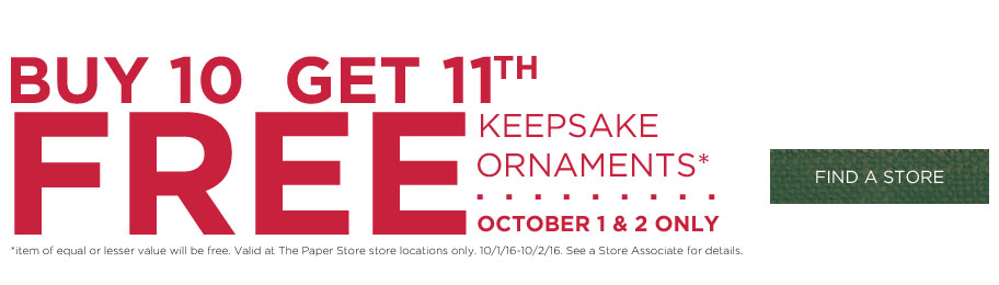 Hallmark Ornament In Store Deal - buy 10 get the 11th free