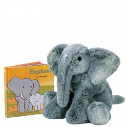Jellycat Elephant (Board Book) and Big & Beautiful Elly Elephant