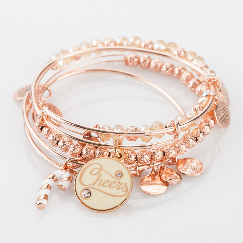Alex and Ani Holiday Cheers Expandable Wire Bangle Stack