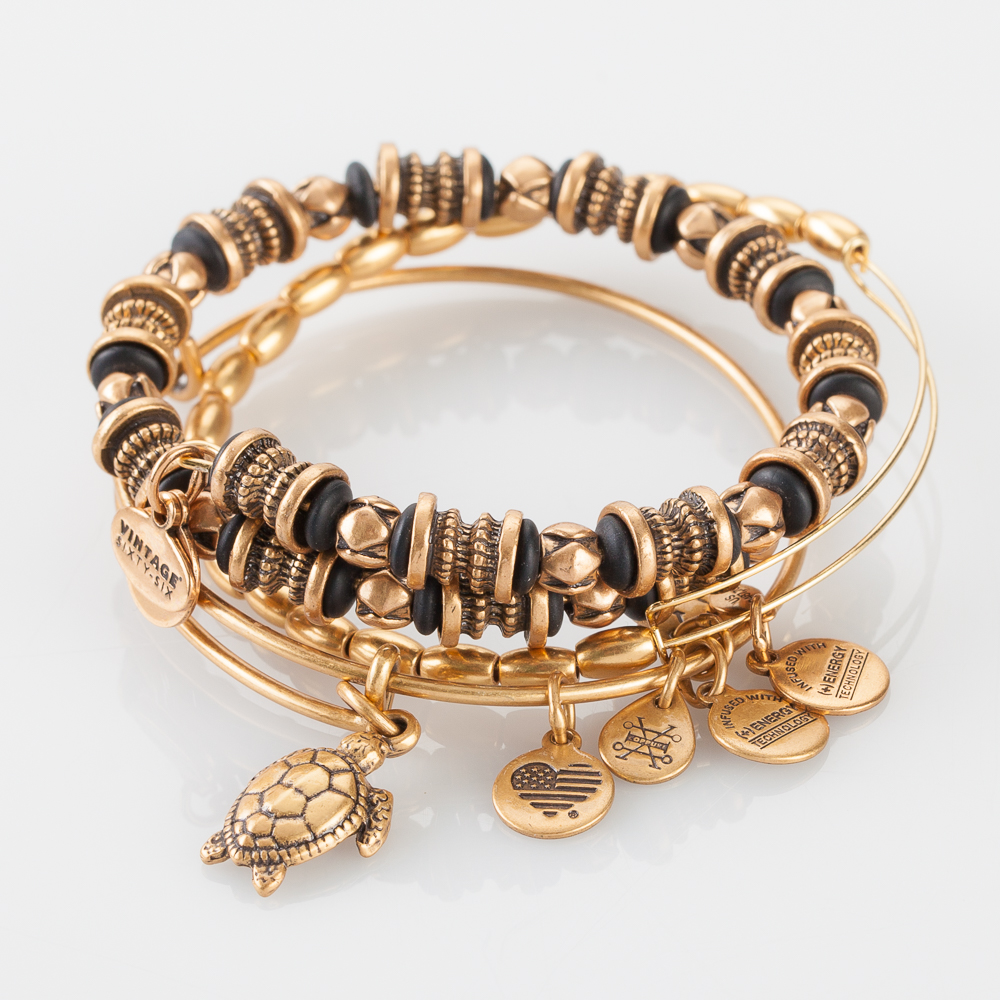 Alex and Ani Nature's Heritage Gold Expandable Wire Bangle Stack