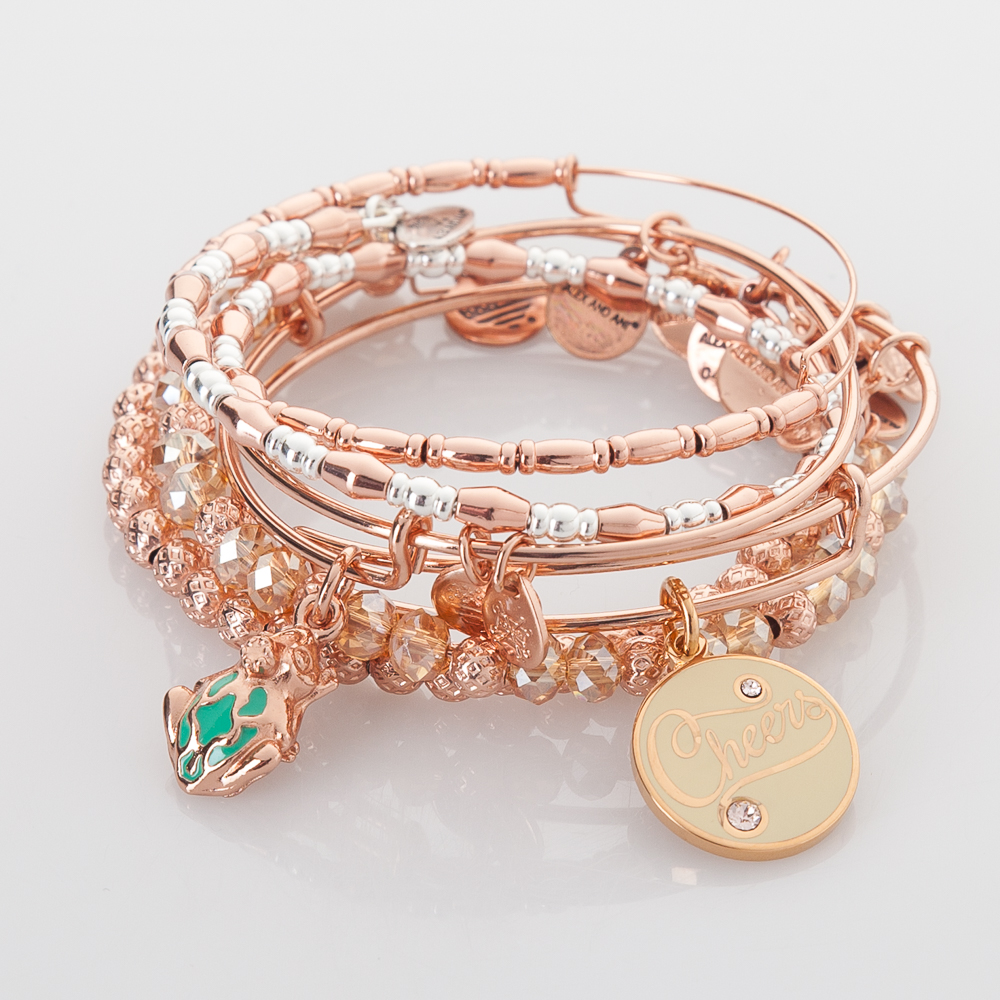 Alex and Ani Cheers To The Frog Prince Expandable Bracelet Stack
