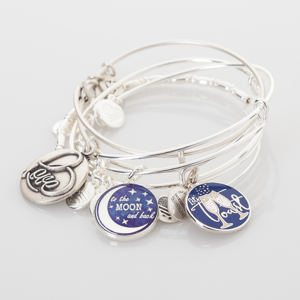 Alex and Ani Toast To A Stellar Love Expandable Wire Bangle Stack