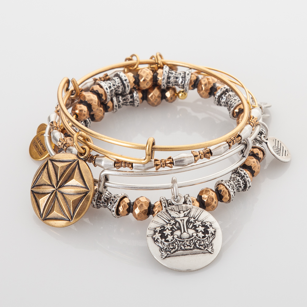 Alex and Ani The Queen, The Goddess Expandable Wire Bangle Stack
