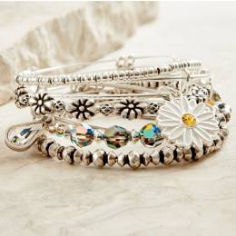 Alex and Ani Daisies and Dew Drops Bangle Stack