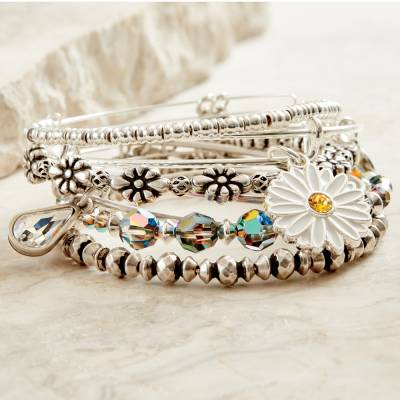 Daisies and Dew Drops Bangle Stack