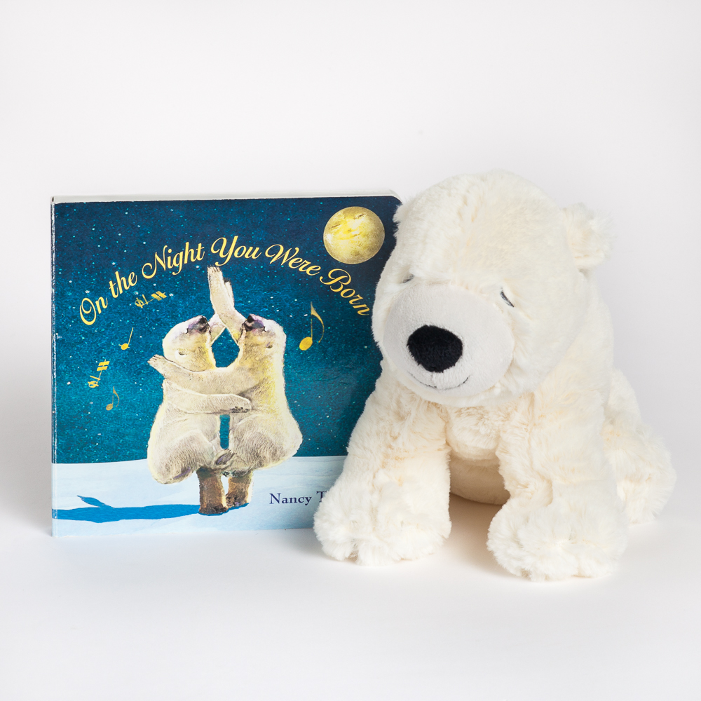 Nat & Jules Sleepy Polar Bear Plush and On the Night You Were Born Board Book