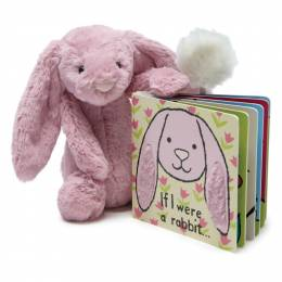 Jellycat If I Were a Rabbit Book & Bashful Pink Tulip Bunny (Medium)