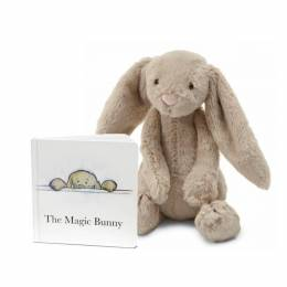 Jellycat The Magic Bunny Book & Bashful Beige Bunny Plush (Medium)